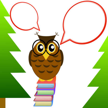 spectacled: a clever owl spectacled sits on books on a white background,illustration a raster