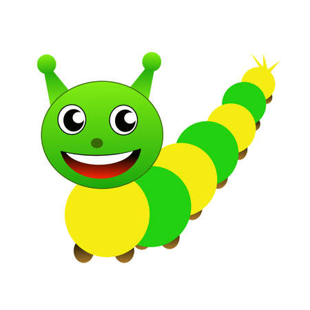 amusing caterpillar on a white background, it is isolated, raster illustration