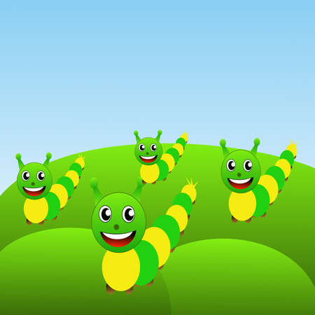 rudely: four amusing caterpillars on a green lawn, raster illustration