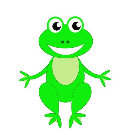 amusing green frog  on a white background, raster illustration Stock Photo
