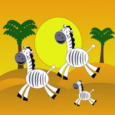 hoofs: three amusing zebra  hurry on the desert, raster illustration