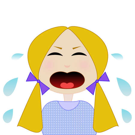 whining: whining girl on a white background, raster illustration,