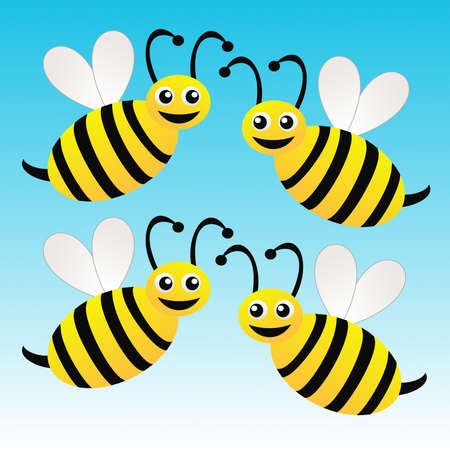 amusing: four amusing drawn bees on a blue background, raster illustration
