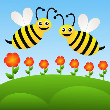 two amusing drawn bees fly above red flowers on a blue background, raster illustration illustration