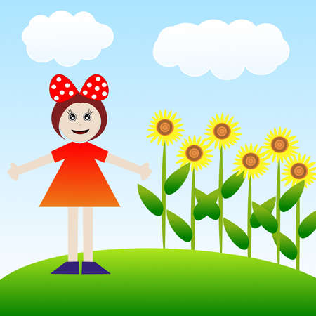 girl on a green lawn with brightly yellow sunflowers, illustration a raster illustration