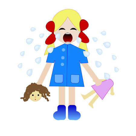 whining: whining girl with the broken doll in hands,illustration a raster
