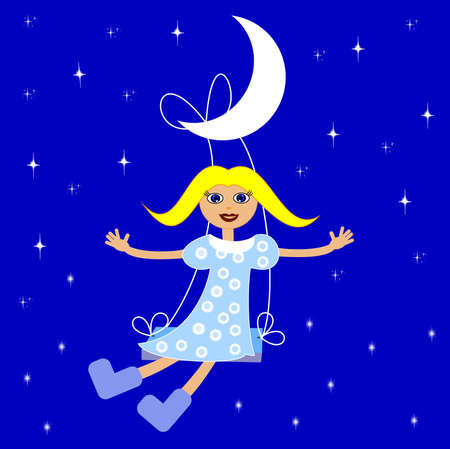 girl on swings on a background star sky,illustration a raster