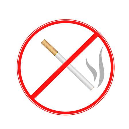 tachado: firmar cigarrillo tachado en un fondo blanco, ilustraci�n de la trama Foto de archivo