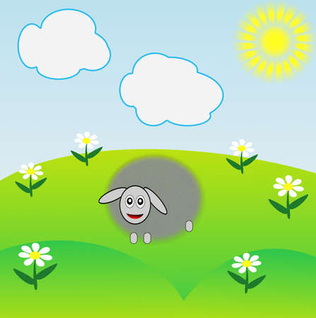the drawn sheep grazes on a green lawn, raster illustration