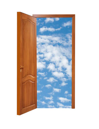 unclosed wooden door with a kind on blue sky with clouds on a white background, isolated photo