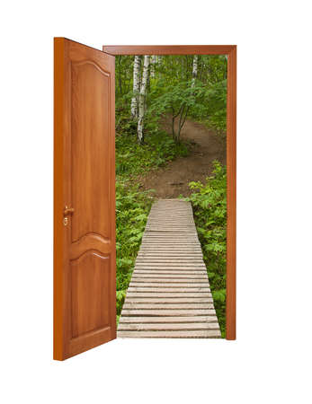 unclosed wooden door with a kind on a wooden path in a birchwood on a white background, isolated photo