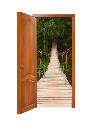 unclosed wooden door with a kind on the wooden suspended bridge on a white background, isolated photo
