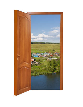 unclosed: unclosed wooden door with a kind on rural landscape on a white background, isolated