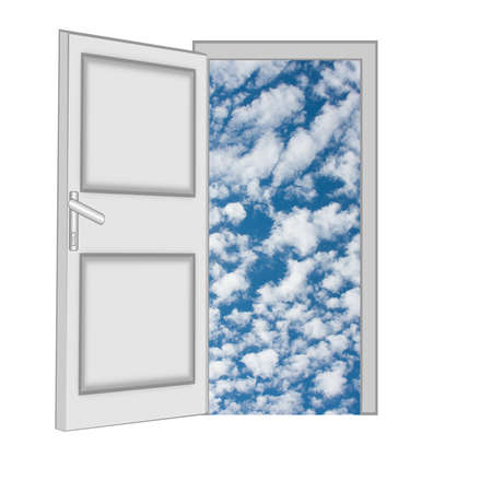 unclosed: unclosed door with a kind on blue sky with clouds on a white background, isolated Stock Photo