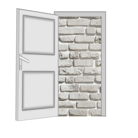 unclosed: unclosed door with a kind on a brick wall on a white background, isolated Stock Photo