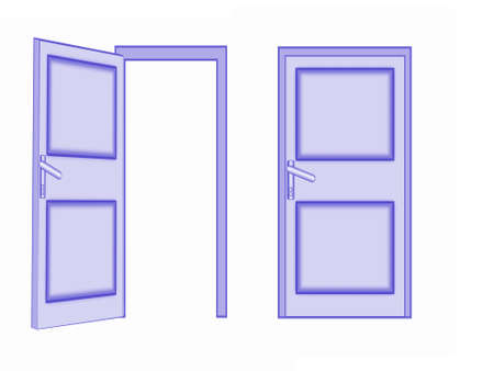two tone: two doors on a white background, isolated, raster illustration