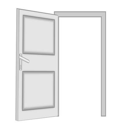 unclosed: unclosed door  on a white background, isolated, raster illustration