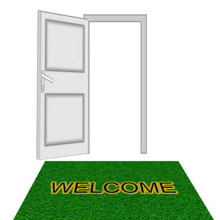 unclosed: unclosed door  on a white background and green carpet with inscription  Welkom, isolated, raster illustration
