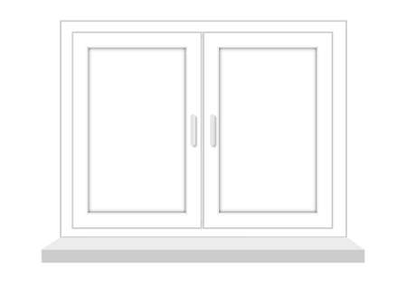flowed: closed window on a white background, it is isolated, raster illustration Stock Photo
