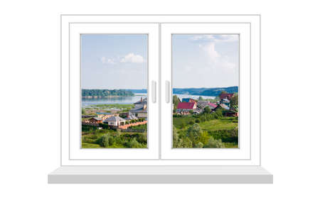 flowed: closed window with a kind on rural landscape on a white background, it is isolated, raster illustration Stock Photo