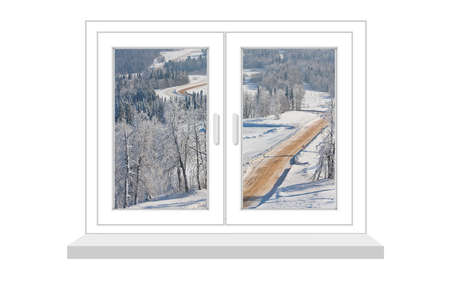 flowed: closed window with a kind on winter landscape  on a white background, it is isolated, raster illustration