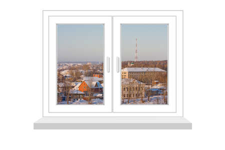 flowed: closed window with a kind on winter landscape on a white background, it is isolated, raster illustration Stock Photo