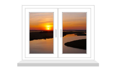 flowed: closed window with a kind on sunset on a white background, it is isolated, raster illustration Stock Photo