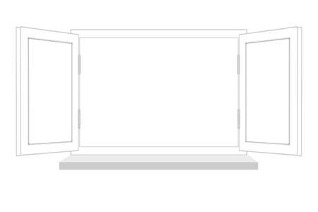 flowed: open window on a white background, it is isolated, raster illustration