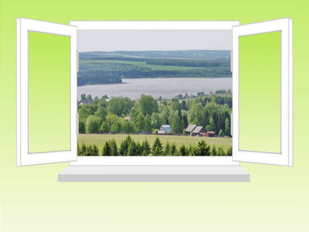 flowed: open window with a kind on rural landscape on a white background, it is isolated, raster illustration