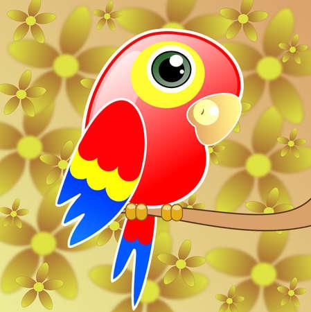 parrot tail: bright drawn parrot, raster illustration