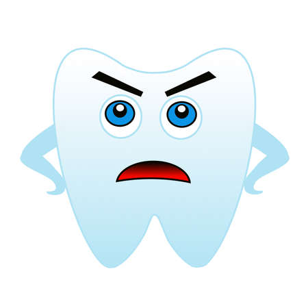 frowned: an angry tooth on a white background, raster illustration
