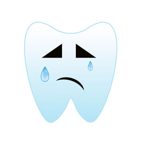 whining: a whining tooth on a white background, raster illustration Stock Photo