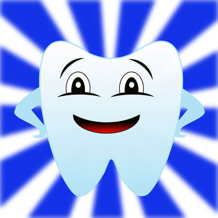 whiteblue: a merry tooth on a white-blue background, raster illustration Stock Photo