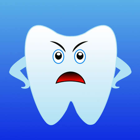 frowned: an angry tooth on a blue background, raster illustration