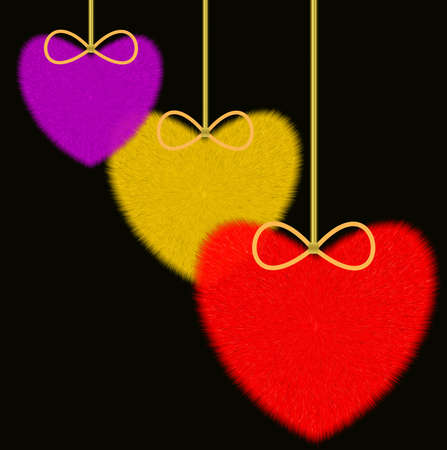 swelled: three varicoloured fluffy hearts on a black background, raster illustration