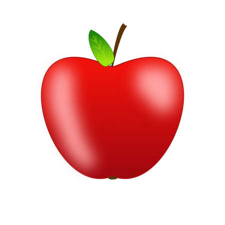 deliciously: bright red apple on a white background