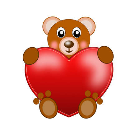 heart tone: drawn bear and red bright heart on a white background Stock Photo