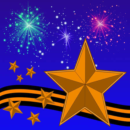 banger: gold bright stars, yellow-black ribbon and banger on a background blue sky