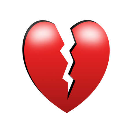 heart tone: broken red bright heart  on a white background Stock Photo