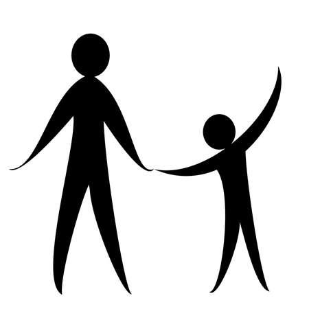 大人の男と白い背景の上の子のシンボル 写真素材