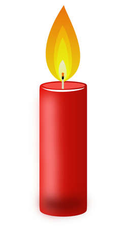 conflagrant: conflagrant candle of red color on a white background, illustration Stock Photo