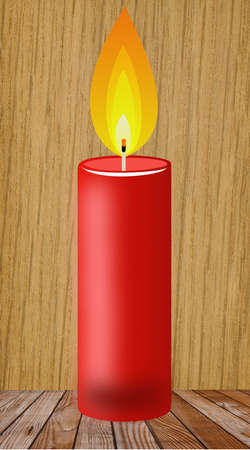 conflagrant candle of red color on a wooden surface, illustration illustration