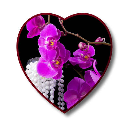 heart tone: abstract  heart with the lilac flowers of orchid, illustration