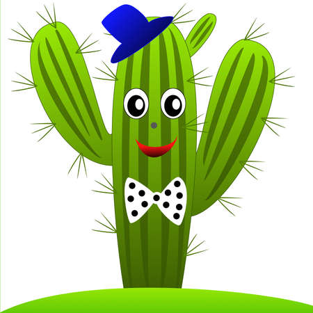drawn green cactus with eyes on a white background, illustration illustration