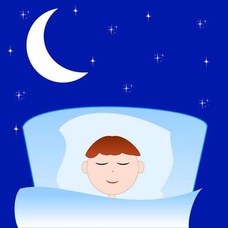 sleeps: the drawn boy sleeps in a bed on a background dark star sky, illustration Stock Photo