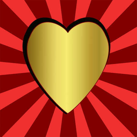 heart tone: brilliant gold heart on the abstract striped background, illustration