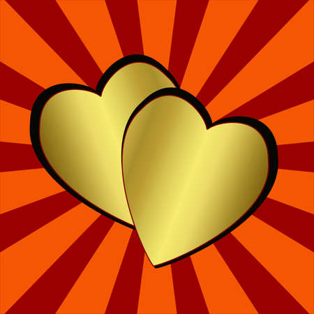 two brilliant gold hearts on the abstract striped background, illustration illustration