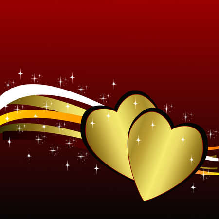 two brilliant gold hearts on an abstract background, illustration illustration