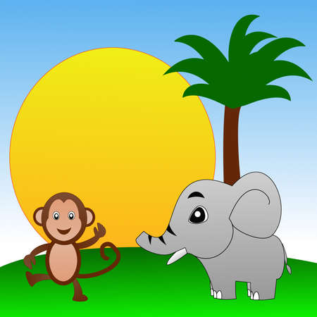 personages: fairy-tale personages elephant and monkey on a green lawn, illustration