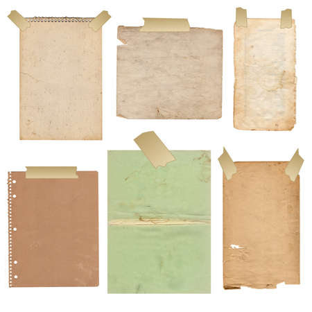 glued: old folias of paper on a white background